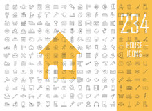 House Linear Icons Big Set. Thin Line Contour Symbols. Cleaning Service, Housework. Real Estate, Property. Home Appliances And Furniture. Isolated Vector Outline Illustrations. Editable Stroke