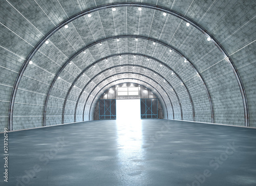 Slika na platnu Hangar interior with gate. 3d illustration