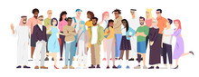 Demographic Diversity Flat Vector Illustration. Different Nations Representatives Standing Together. Arabian, European, Hispanic Word Cooperation. Multiethnic Society, Globalized Community