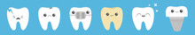 Teeth Icon Set Line. Cracked, Broken, Healthy White Yellow Ill Tooth Dental Implant Prosthesis, Braces. Shining Star. Cute Cartoon Kawaii Character. Oral Dental Hygiene. Baby Background. Flat