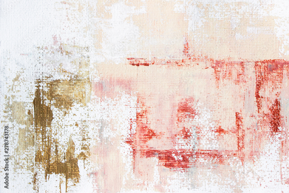 Fototapeta abstract painting of soft pink acrylic color on canvas
