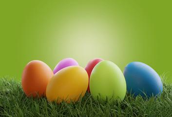 Easter eggs green grass gre...