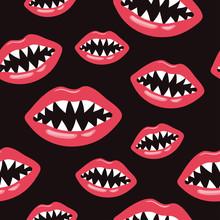 Seamless Lips Pattern With Sha...