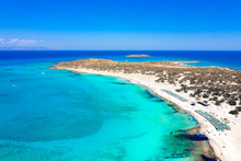 Aerial View Of The Exotic Chryssi Island At The South Of Crete, With The Amazing Golden Beach, Greece