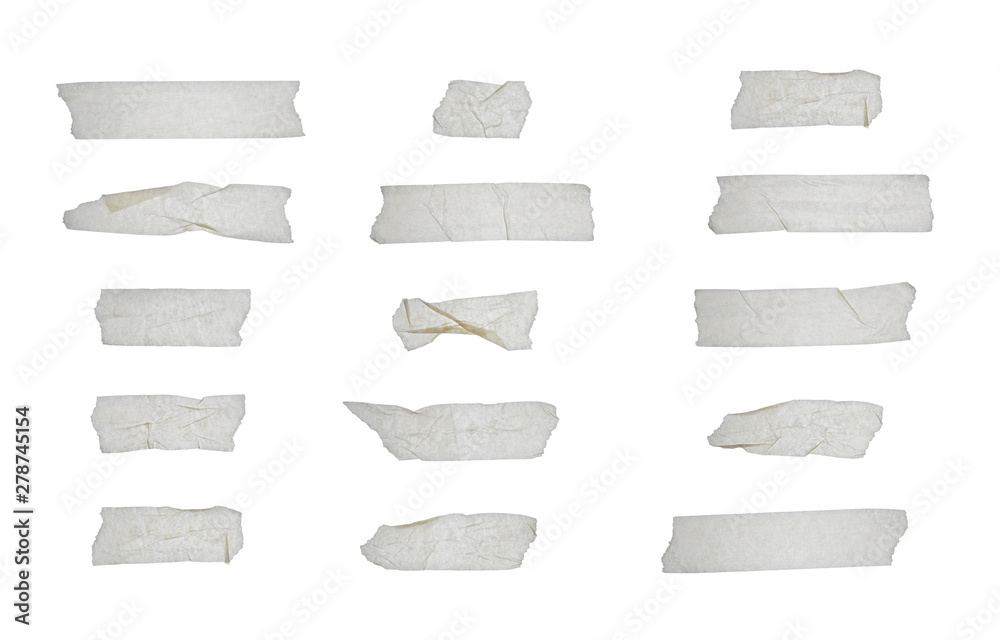 Fototapeta Strips of clear masking tape. Set of various adhesive tape pieces isolated on white background. Paper tape texture. Wrinkled sellotape.