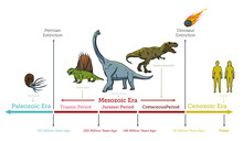 Dinosaurs Extinction Infographic Diagram Showing Paleozoic Mesozoic Cenozoic Eras And Dinosaurs Periods Including Triassic Jurassic Cretaceous Million Years Ago For Geology Science Education - Vector