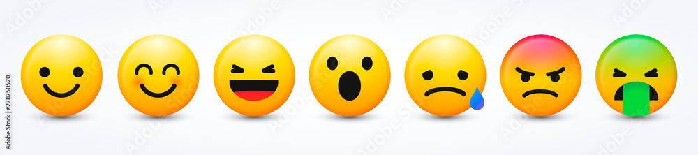 Fototapeta 3D Design Vector New Modern Emoticons Set with Different Reactions for Social Network