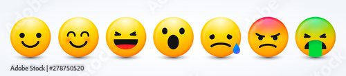 Fotografie, Obraz  3D Design Vector New Modern Emoticons Set with Different Reactions for Social Ne
