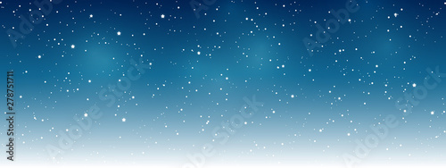 Shiny stars on night sky background - horizontal panoramic banner for Your design