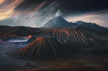 Landscape Of Caldera Bromo Volcano, Java Island, Indonesia