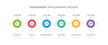Modern Design Elements For Assessment Concept Multicolor Infographics.Timeline With 6 Steps, Options, Circles. Vector Template