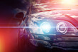 Modern car headlight with blue light effect and red sun light effects