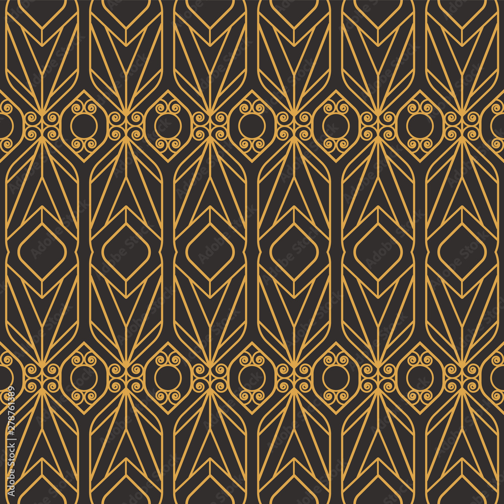 Art Deco seamless luxury geometric pattern. Golden lined shape. Vector Leaves stylish background. Abstract sea shell illustration.
