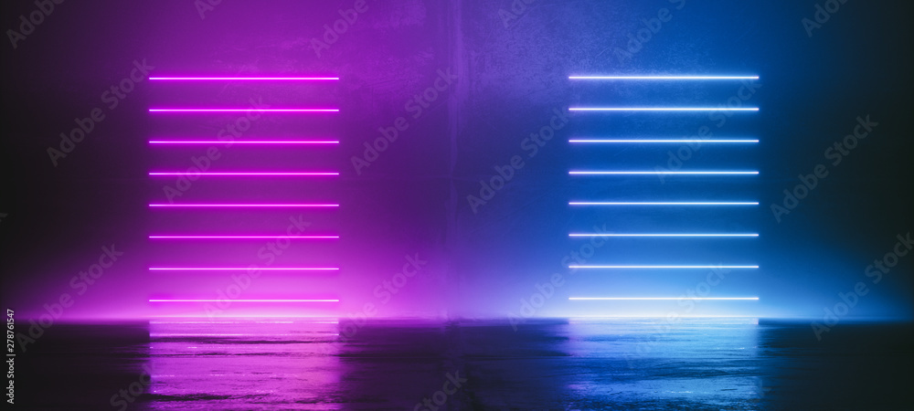 Fototapety, obrazy: Futuristic Sci-Fi Abstract Blue And Purple Neon Light Shapes On Black Background And Reflective Concrete With Empty Space For Text 3D