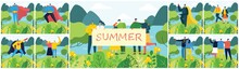 Vector Illustration ECO Background Of Summer Concept In The Flat Design. Landscape, Forest, Hills And Trees And Girl With Banner.