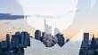 canvas print picture - Business Handshake vor Büros in Stadt