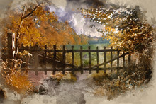 Digital Watercolour Painting Of Lovely Old Gate Into Countryside Field Autumn Landscape