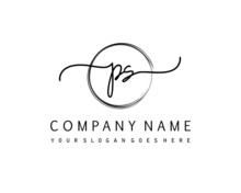 PS Initial Handwriting Logo With Circle Hand Drawn Template Vector