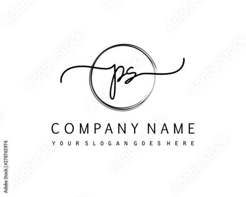 PS Initial handwriting logo with circle hand drawn template vector Wall mural