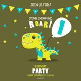 Fototapeta Dinusie - Cute baby boy dinosaur.  Birthday invitation. 1 year