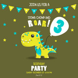 Fototapeta Dinusie - Cute baby boy dinosaur.  Birthday invitation. 3 years