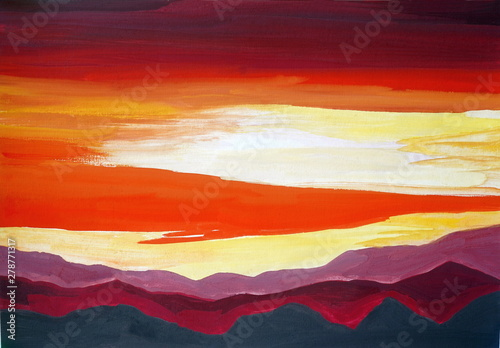 Drawing of bright mountains landscape, yellow red clouds #278771317