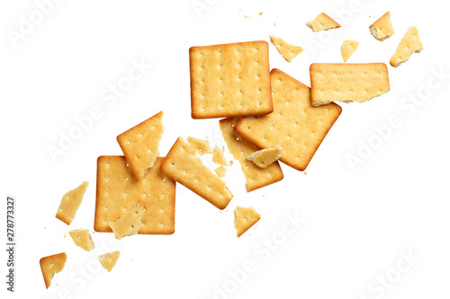 Crushed dry crackers, isolated on white background Tapéta, Fotótapéta
