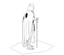 Warrior Character, Contour Visualization, 3D Illustration, Sketch, Outline