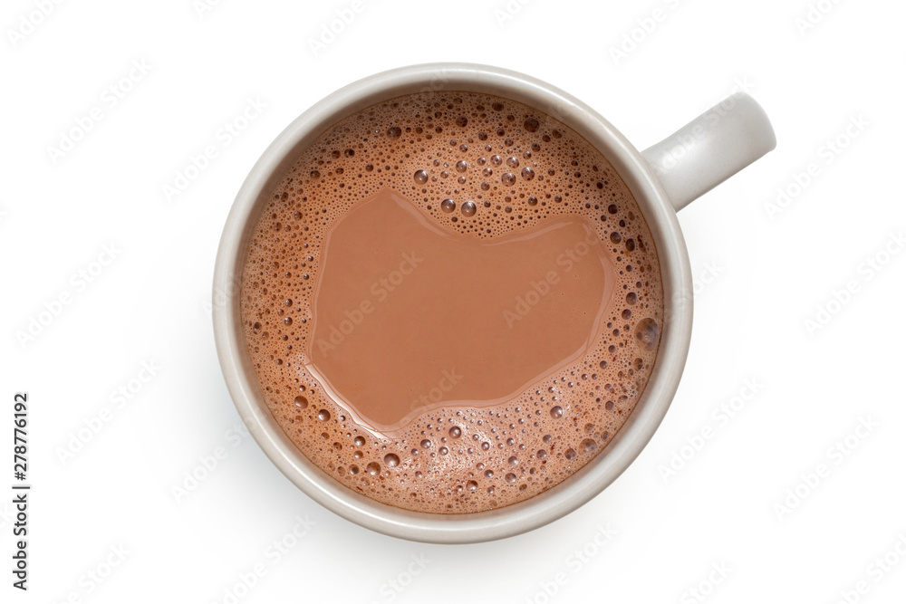 Fototapety, obrazy: Hot chocolate in a grey ceramic mug isolated on white from above.