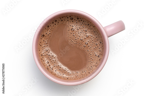 Keuken foto achterwand Chocolade Hot chocolate in a pink ceramic mug isolated on white from above.