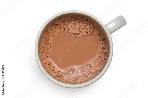 obraz lub plakat Hot chocolate in a grey ceramic mug isolated on white from above.