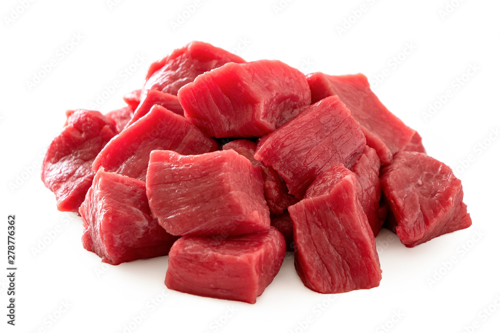 Fototapeta Pile of beef cubes isolated on white.
