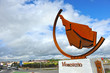 Roundabout with sculpture of Iberian ham at the entrance of Monesterio, a village in Way to Santiago (Via de la Plata) at province of Badajoz Extremadura Spain