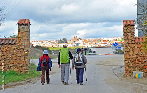 Entrance of pilgrims in Monesterio village in the Way to Santiago (Via de la Plata) at province of Badajoz Extremadura. Via de la Plata is St. James Way (Camino de Santiago) from Seville to Santiago