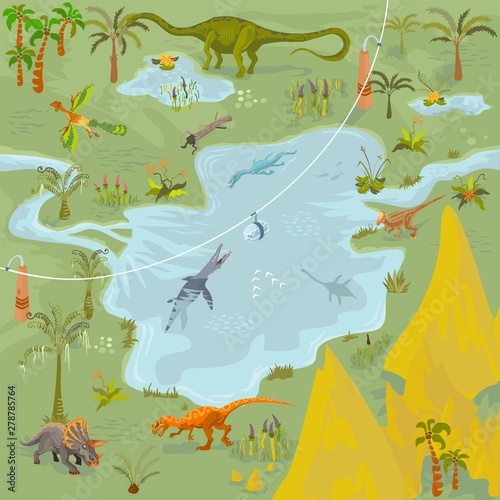 Photo  Dinosaurs adventure theme park fantasy map scene of lost world, animals and plan