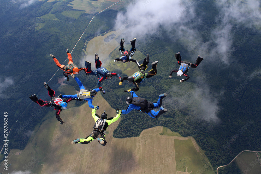 Fototapety, obrazy: Skydiving. A group of skydivers is in the sky.