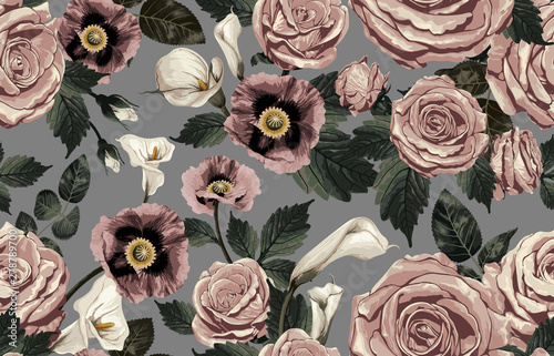 Vászonkép  Elegant pattern of blush toned rustic flowers isolated in a solid background great for textile print, background, handmade card design, invitations, wallpaper, packaging, interior or fashion designs