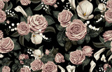 Elegant pattern of blush toned rustic flowers isolated in a solid background great for textile print, background, handmade card design, invitations, wallpaper, packaging, interior or fashion designs. - 278789911
