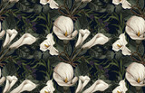 Elegant pattern of blush toned rustic flowers isolated in a solid background great for textile print, background, handmade card design, invitations, wallpaper, packaging, interior or fashion designs. - 278791579