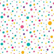 Multicolored Polka Dot Seamless Pattern. Vector Template For Festive Design.