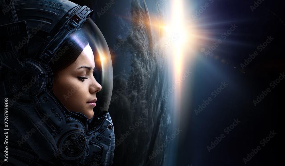 Fototapety, obrazy: Astronaut and planet, human in space concept