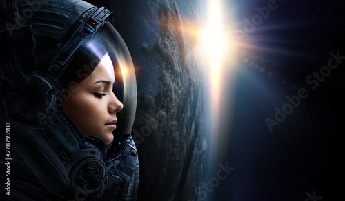 Deurstickers Snelle auto s Astronaut and planet, human in space concept
