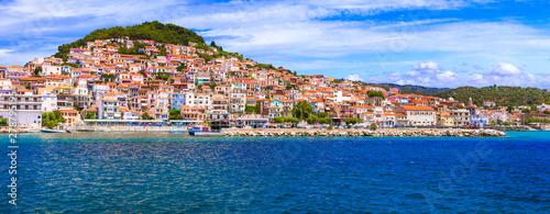 Travel in Lesvos island - view of beautiful Plomari town Canvas Print