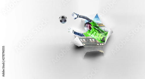 Paper breakthrough hole effect and soccer Wallpaper Mural