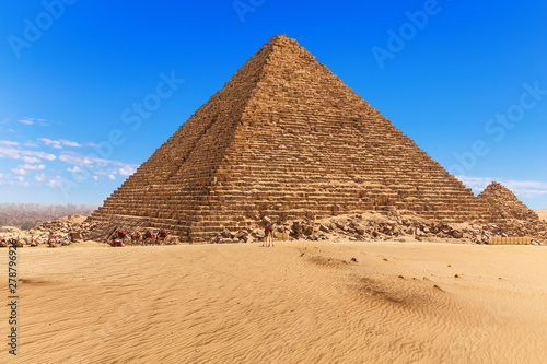 The Pyramid of Menkaure and the blue sky of Giza, Egypt