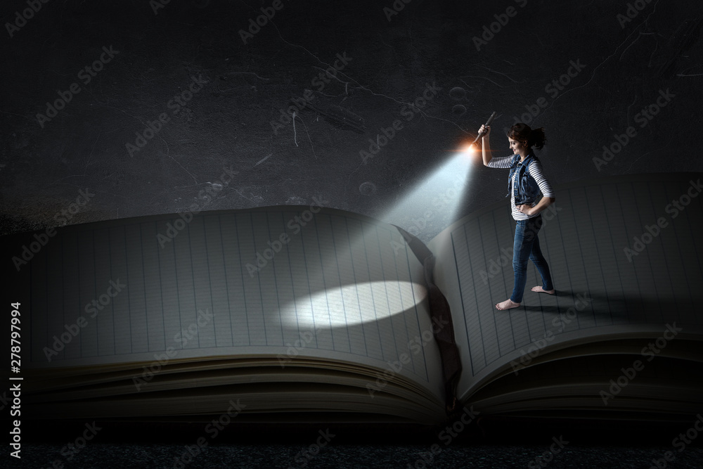 Fototapety, obrazy: Little woman with large book concept
