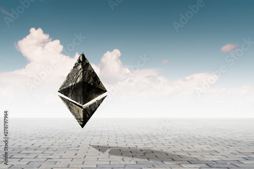 Ethereum symbol on sky background