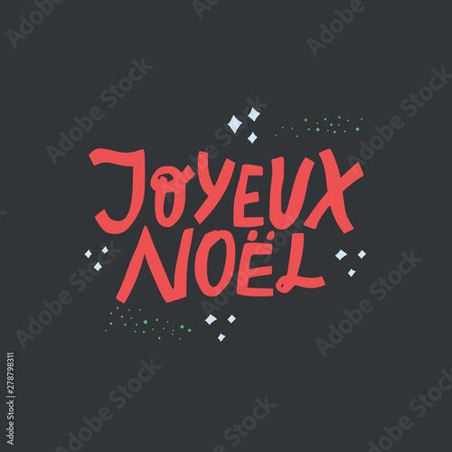 Joyeux noel hand drawn red vector lettering