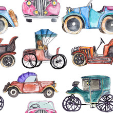 Watercolor Hand Drawn Artistic Colorful Retro Vintage Car  Seamless Pattern