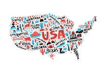 USA Map Flat Hand Drawn Vector...